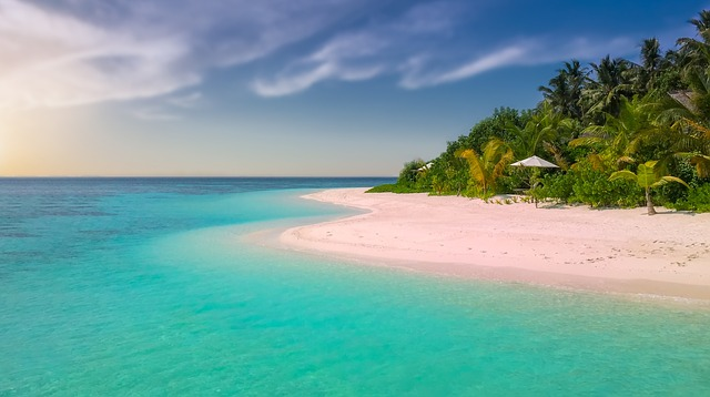 Pink sand beach with turquoise water.
