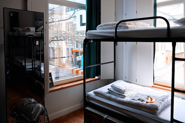 Bunk bed in a hostel.