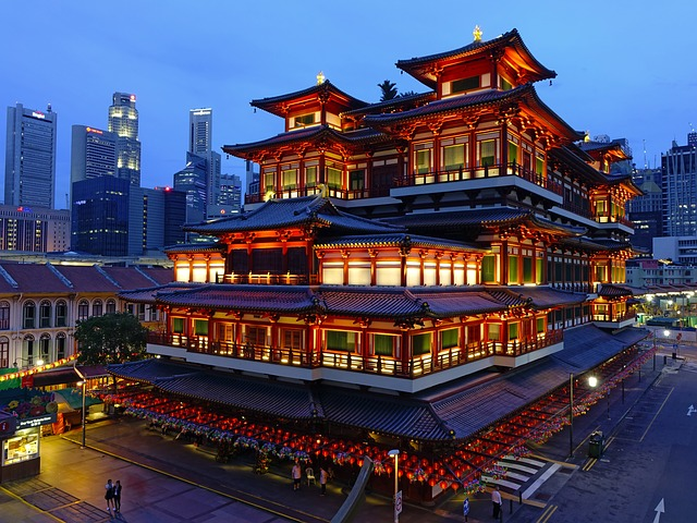 A temple in the middle of the city in Singapore.