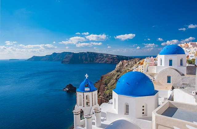 View above of Santorini, Greece.