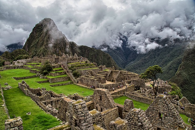 Machu Picchu from above on a cloudy day.
