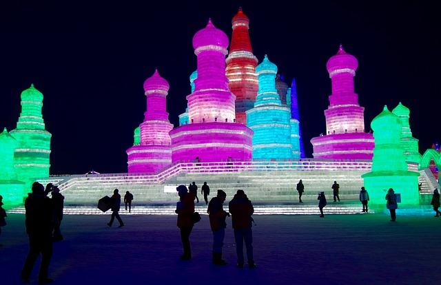 Harbin Ice festival at night full of colors.
