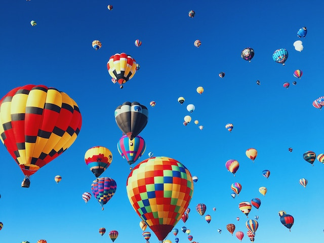 a view looking up to the sky at the Albuquerque Balloon Fiesta