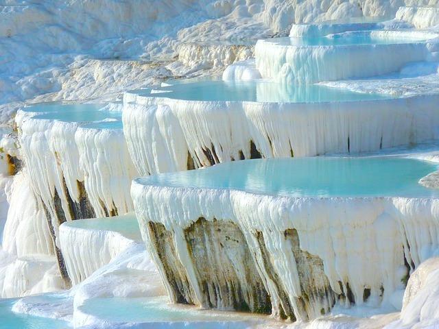 Pamukkale thermal hot spring pools in Turkey