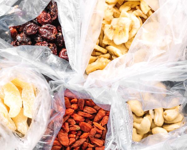 mini plastic bags full of dried snacks.