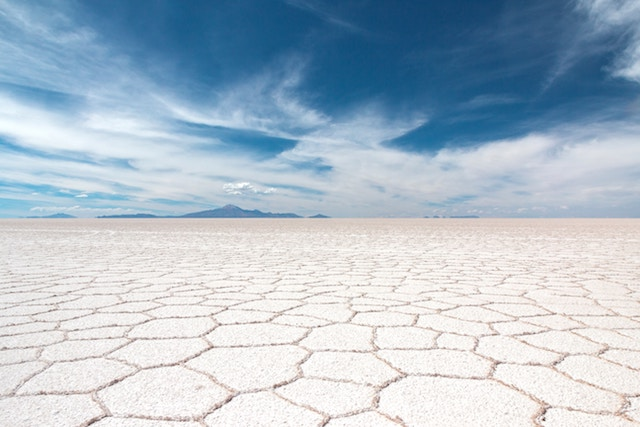 one of the two landscapes thatat Salar De Uyuni has (this one is white when dry, will mirror the sky when wet.)