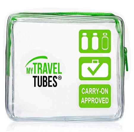 A plastic container that is TSA approved to hold liquids.