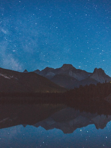 a starry night in Banff, Canada.