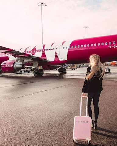a photo of a WOW Air plane and passenger.